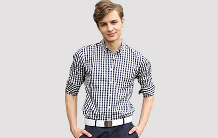男士商务深蓝条纹衬衫