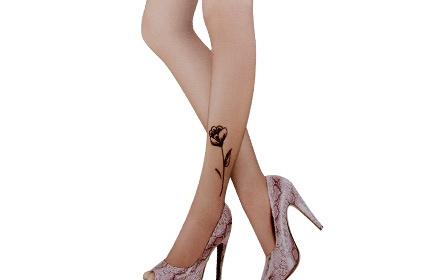单条玫瑰花纹身丝袜