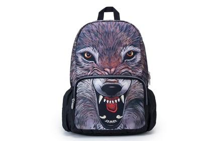 美国潮牌mojo狂野狼头双肩背包.独具创意个性图案!