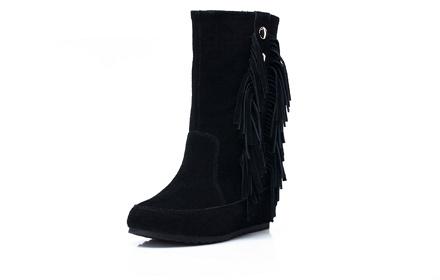 女靴流苏_【图】流苏靴内增高女靴流苏靴高筒靴磨砂皮