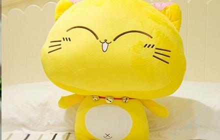 安吉宝贝可爱铃铛猫毛绒玩具