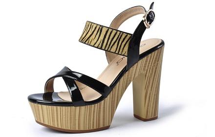 戈美其 女鞋绑带凉鞋高跟鞋黑色