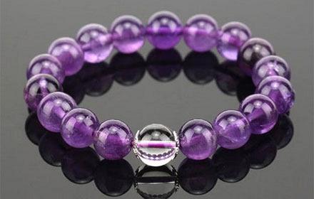 天然紫水晶配白水晶手链
