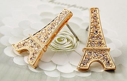 埃菲尔铁塔水钻金色耳环