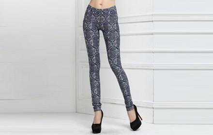 口袋烫钻打底裤简单的图案修身展现完美身材亲肤柔软
