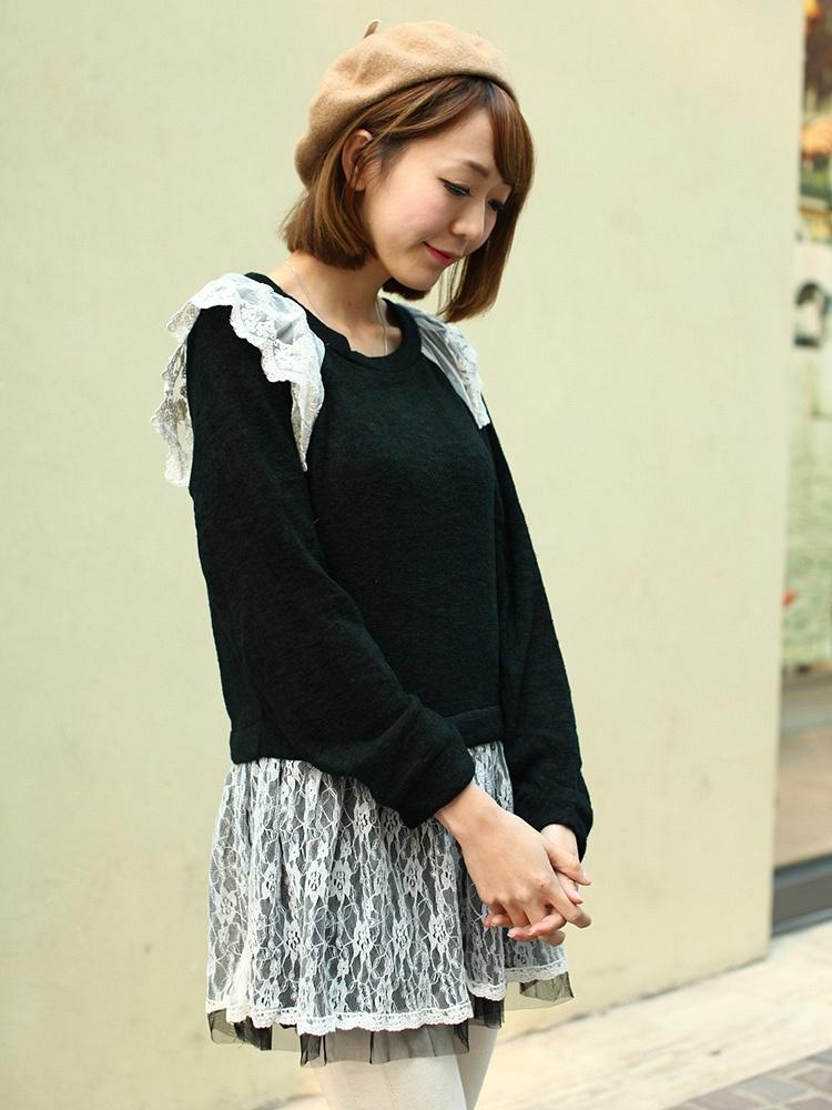 秋冬拼接蕾丝裙摆花边针织长袖套头百搭毛衣连衣裙