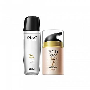 美国•玉兰油(OLAY)多效修护粉嫩护肤2件套(多效修护粉嫩气色霜50g+多效修护醒肤水 150ml)
