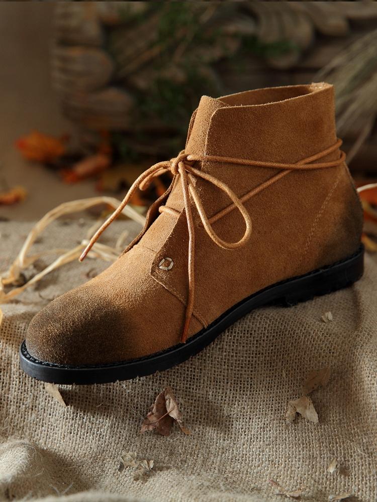 茵曼系带短靴低跟马丁靴子棕色
