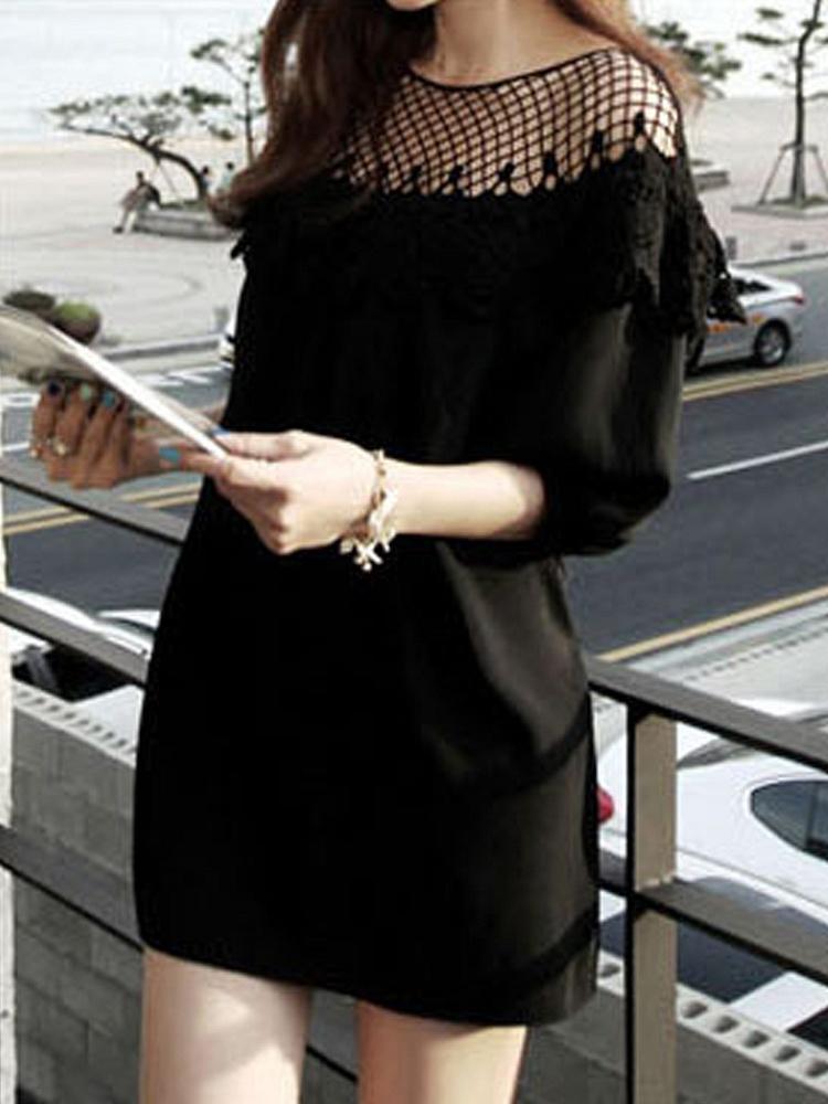 黑色蕾丝拼接雪纺连衣裙