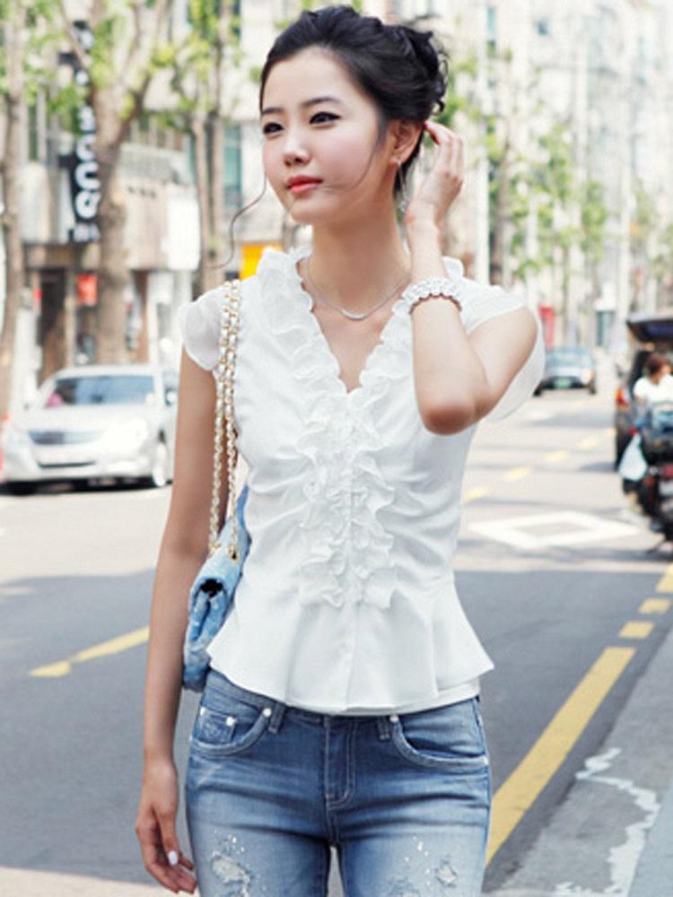 白色修身花边荷叶边衬衫