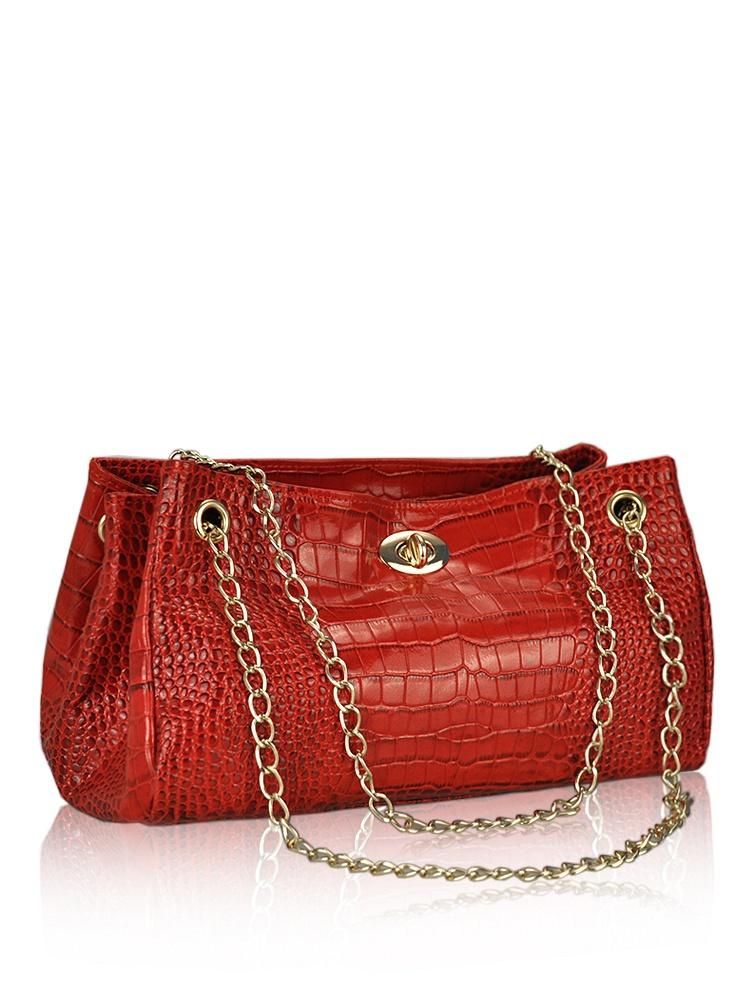 火迪新款链条时尚鳄鱼纹手提包-聚美优品-名酊脂图片