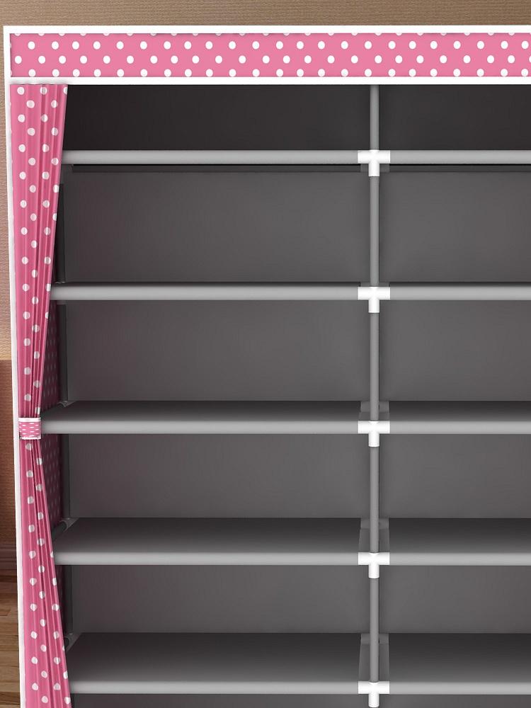简易双排十二格欧式窗帘防尘鞋柜