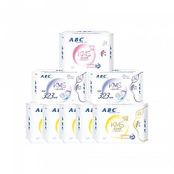 中国•ABC纤薄棉柔防侧漏卫生巾 8包(日40片+夜8片+加长夜用6片)