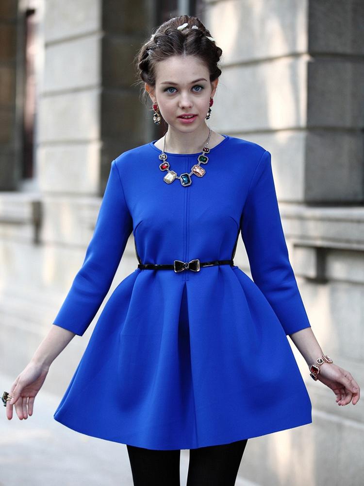 深蓝色太空棉连衣裙14ssq111