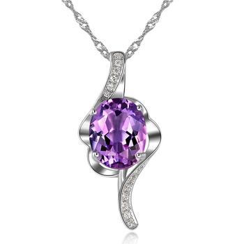 柏荷 baihe天然紫水晶项链