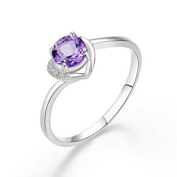 柏荷baiheS925银天然紫水晶时尚戒指