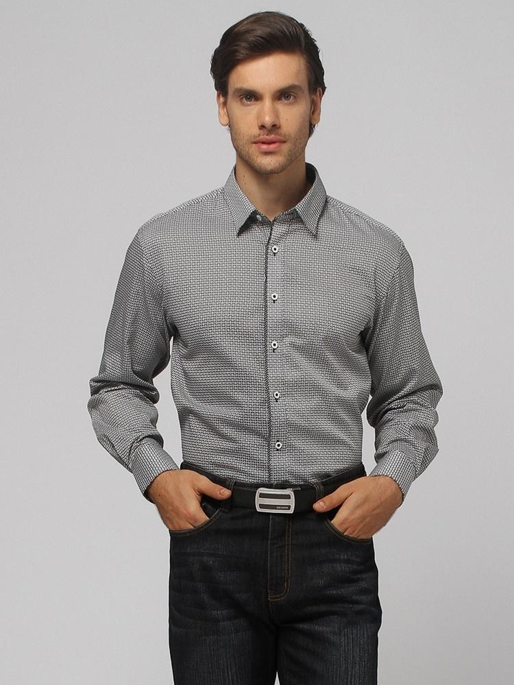 黑白花纹长袖商务衬衫