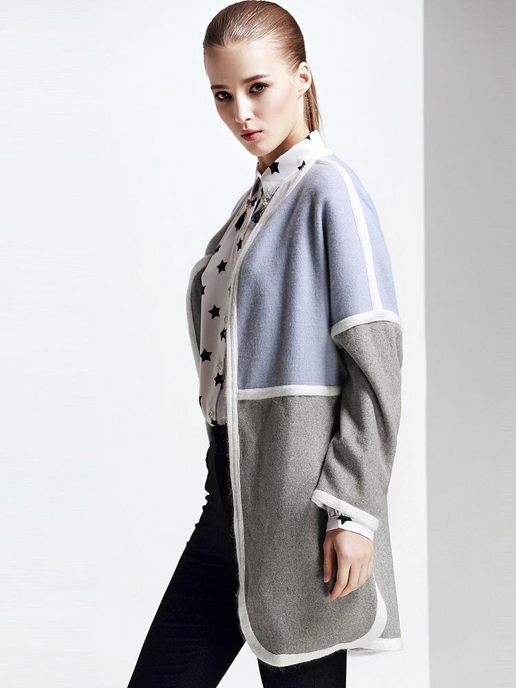卡美尚拼接大衣宽松滚边呢大衣-聚美优品-最视觉旋转平面设计图片