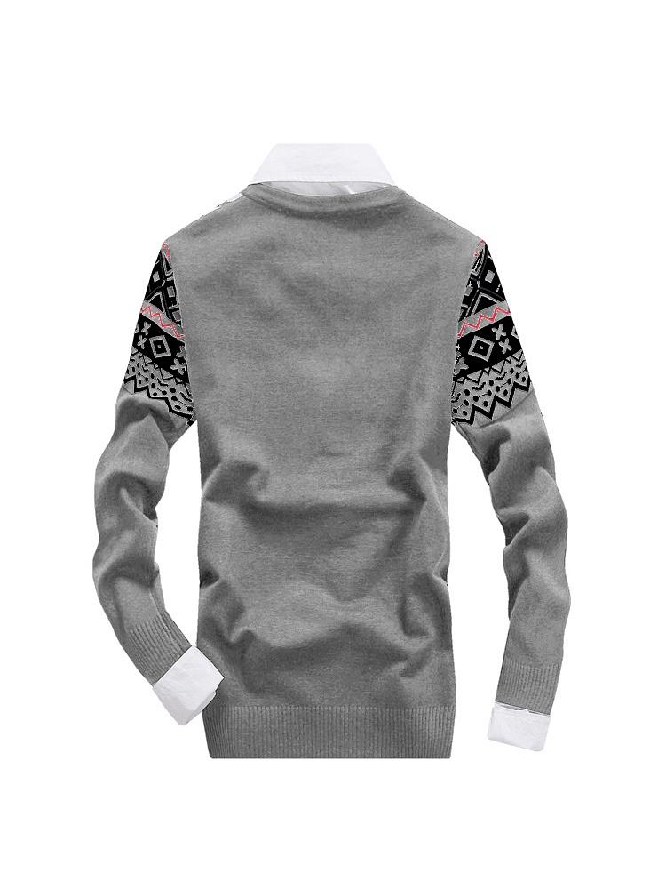 秋冬新款韩版男士灰色时尚休闲复古花纹针织开衫