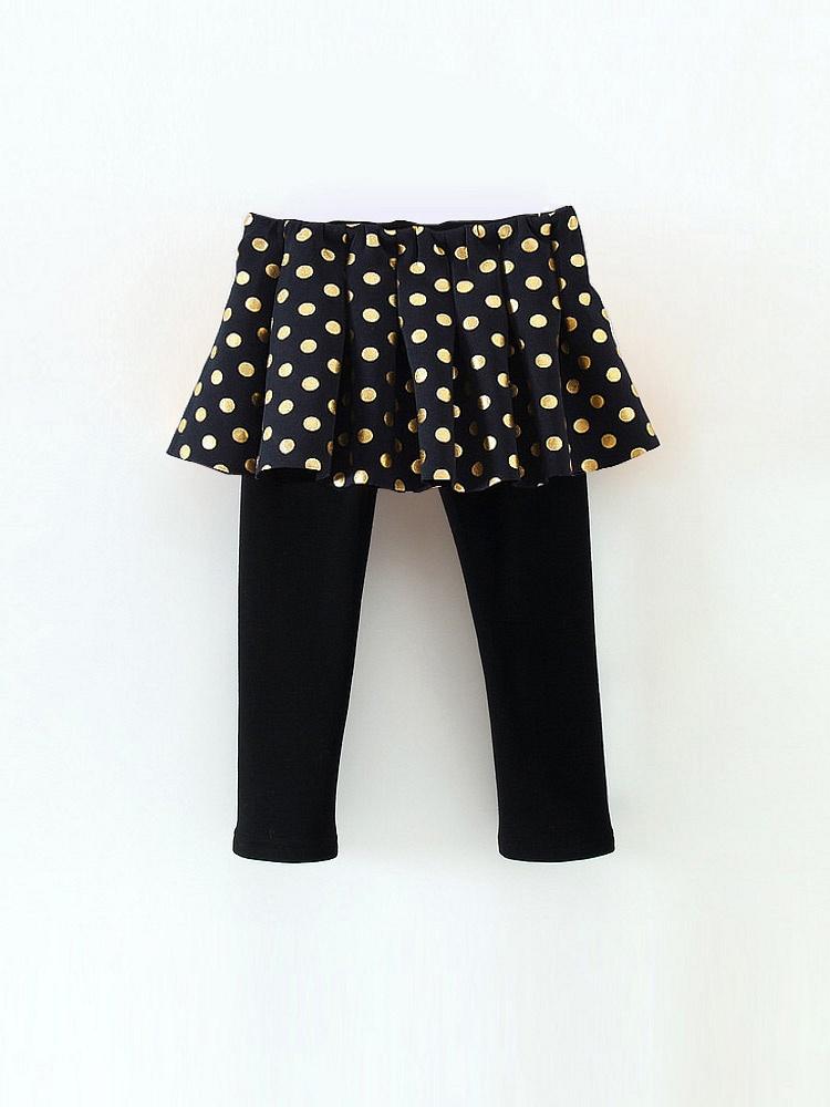 2014冬季新品儿童时尚圆点修身百褶加绒打底裤裙