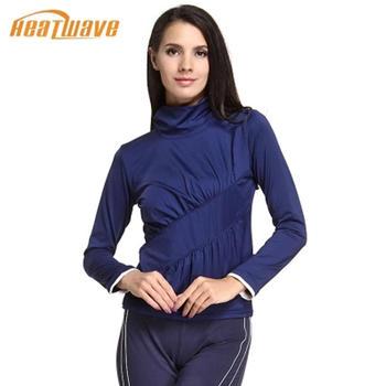 热浪 深蓝色高领抗紫外线瑜伽服