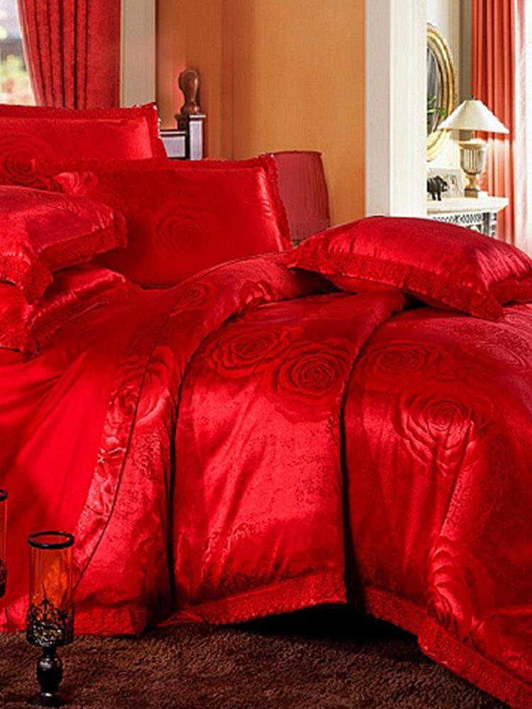 欧式蕾丝婚庆床上用品四件套特价