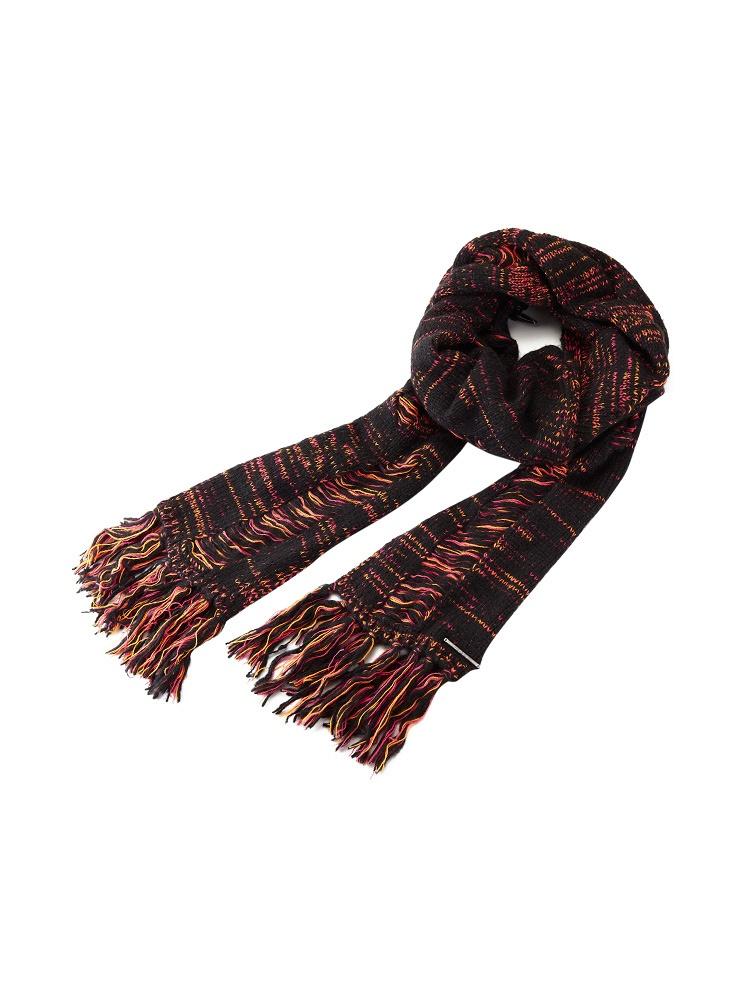优雅百搭桃红色编织花纹图案女士围巾