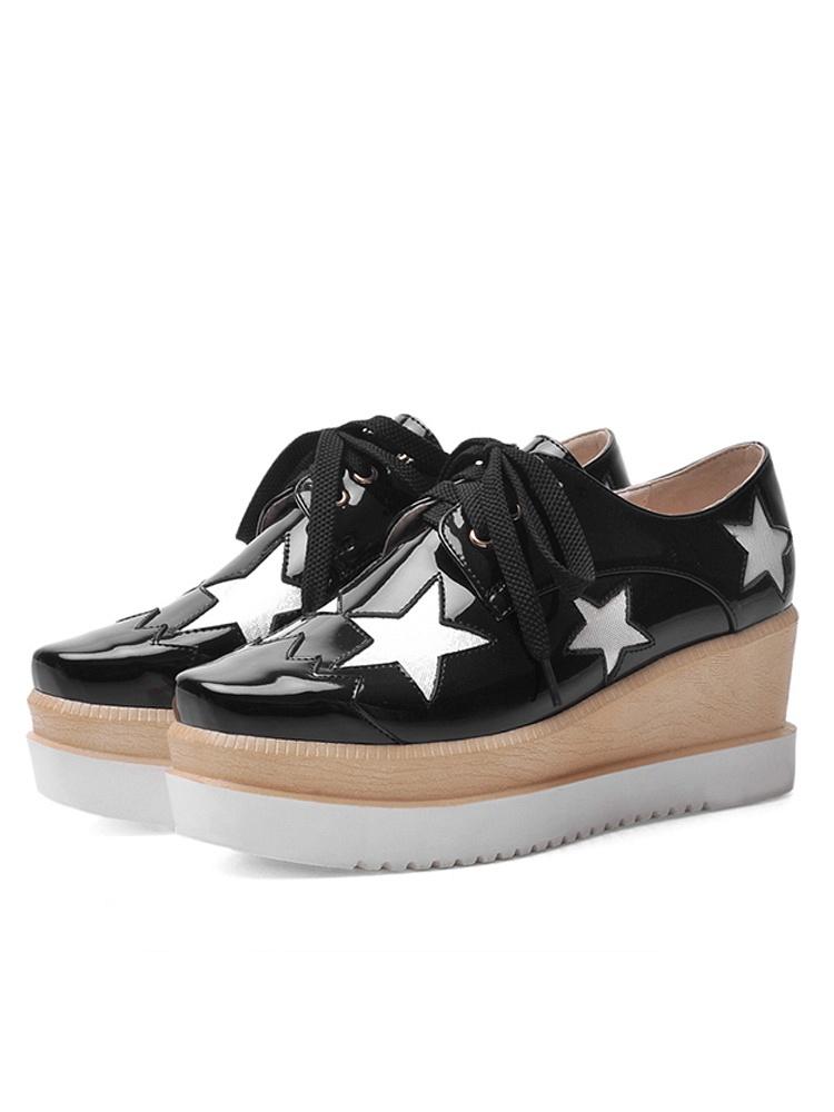 汇康 2015春款坡跟单鞋高跟鞋星星厚底鞋松糕鞋女鞋跑男baby同款鞋