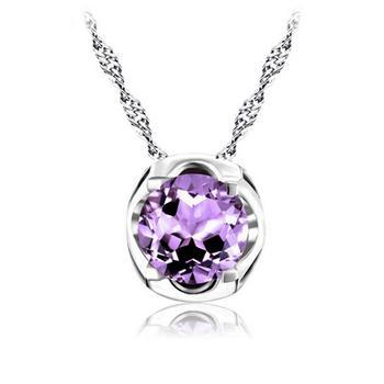 柏荷 baihe925银天然圆型紫水晶吊坠