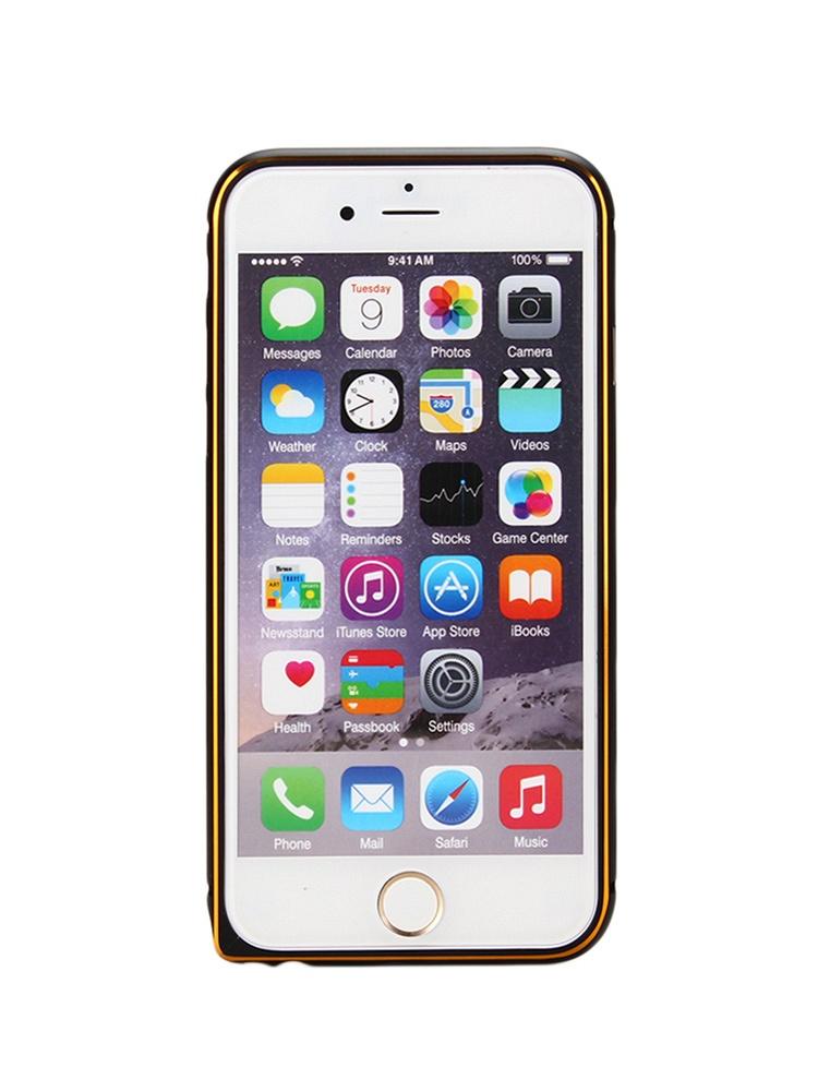 iphone 6/6 plus黑色真皮后盖双色边框