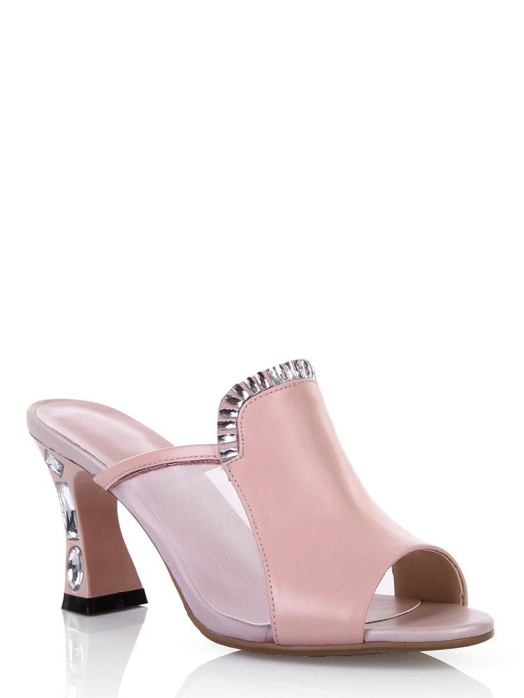 澳洲钉珠高跟鱼嘴网纱牛皮-粉-聚美优品-最亮片花边凉鞋图片
