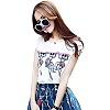 白色t恤+蓝色印花裙子
