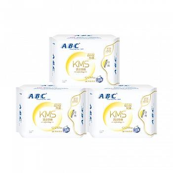 中国•ABC日用纤薄棉柔表层卫生巾8片*3包