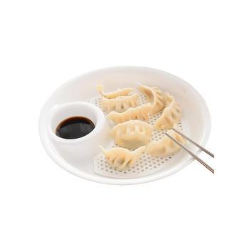 亿珊双层带醋盘 饺子盘-2个