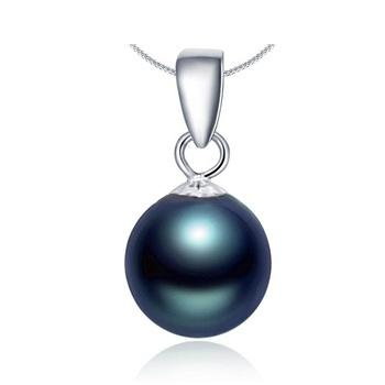 阿梵尼 18K金黑珍珠吊坠 女士项链