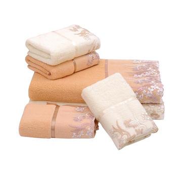 中国•oasso 蕾丝花边毛巾浴巾三件套