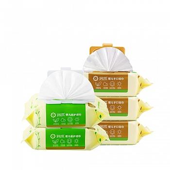 中国•润本Runben 婴儿手口湿巾(有盖)80片*3包+倍护湿巾(有盖)80片*2包