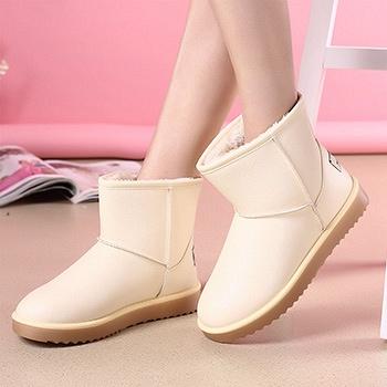 冬季新款PU短筒防水靴子米白