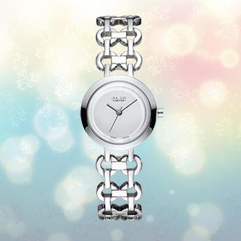 聚利时白带时装潮流精钢女士手表