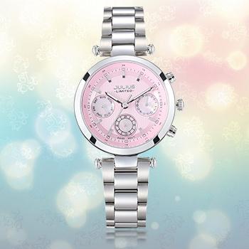 中国•聚利时精钢六针计时时尚女士手表
