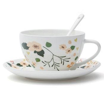 光合生活花季骨瓷咖啡杯2件套
