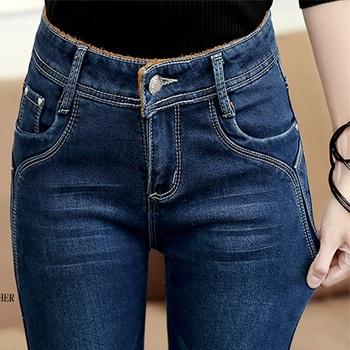 中国•牛仔裤女306-蓝长裤加绒小脚裤加