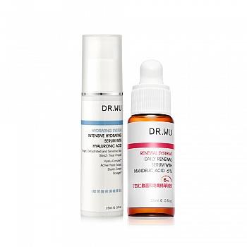 DR.WU焕肤补水套装(玻尿酸保湿精华液15ml+杏仁酸温和焕肤精华液15ml)