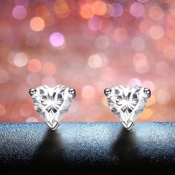 今上珠宝 925银心形锆石耳钉女