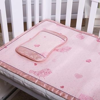 澳斯贝贝粉色小鸟冰丝凉席套装