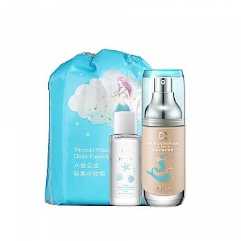 珀莱雅(PROYA)氧气裸妆净颜套装(可弹粉35g+卸妆水30ml+化妆棉)