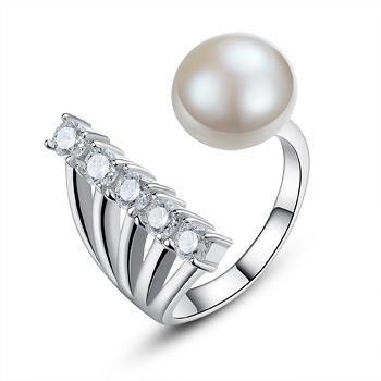 漂亮百合925银珍珠开口戒指 星光