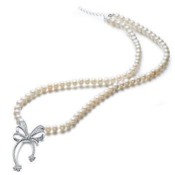漂亮百合 925银珍珠蝴蝶结项链