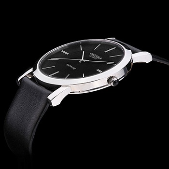 中国•银壳黑面男士超薄时尚腕表