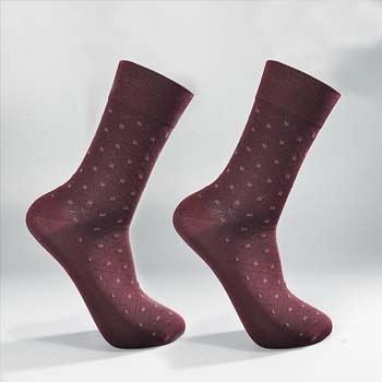 中国•2双装丝光棉精品绅士男袜 酱红